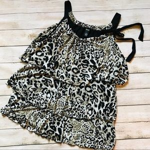 Style & Co. | Ruffled Cheetah Print Tank Top